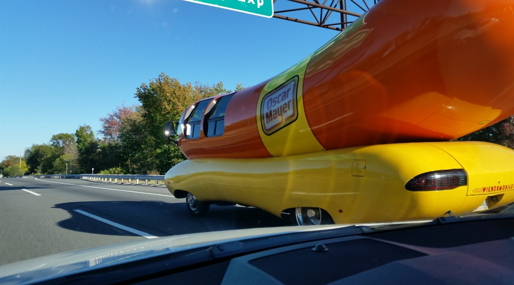 It is good luck when you pass by the Oscar Mayer Weiner Mobile!