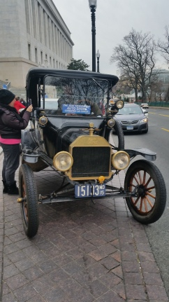 Ford Model T, led the parade of high tech cars from the Capitol in Washington DC to the 2016 Washington Auto Show.