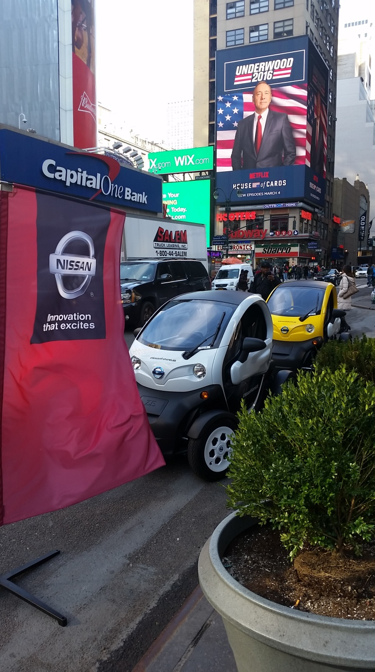 The Nissan Twizzy seemed strangely at home on the crowded streets of New York City.