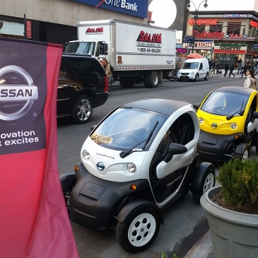 The Nissan Twizzy, is used in Europe under the Renault brand, and is part of a share fleet in San Francisco California, here in the USA.