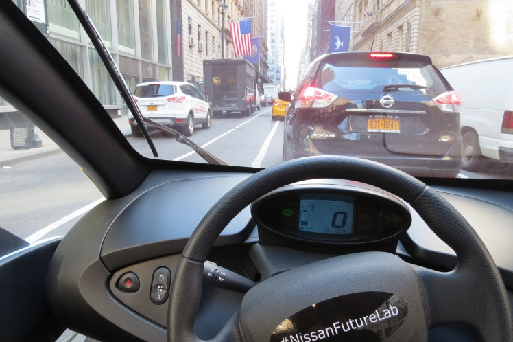 The view of the streets of New York City from inside Nissan Mobility Concept Vehicle.
