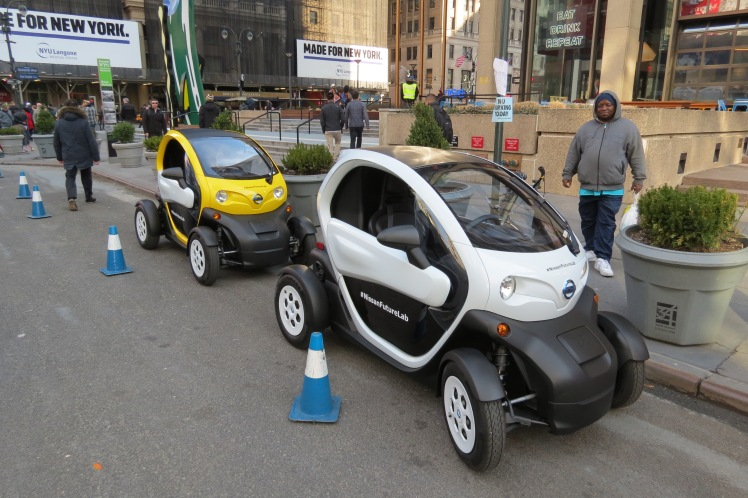 Nissan Twizzy Electric Mobility Vehicles got a lot of attention, even from street-wise New Yorkers.