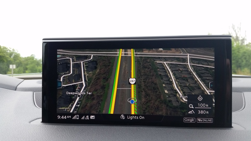 Audi navigation shows what is around you in vivid detail.