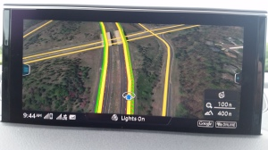 Audi's Google Map Enabled Navigation gives a depth of field on the display.