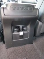 The Nissan Titan XD features a 110 v Outlet in the rear passenger area. USB's and power outlets are located in the front.