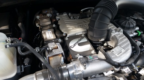 The 5.0 Liter V-8 Cummins Turbo Diesel Engine powering the 2016 Nissan Titan XD SL 4WS CC
