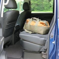 Nissan Titan XD Rear Seats fold down to make a work space