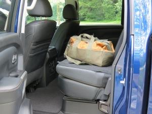 Nissan Titan XD Rear Seats fold down to make a work space