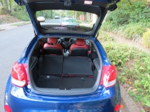 Veloster features plenty of trunk space in the lift over hatch, put the rear sets down and you have a cargo hauler.