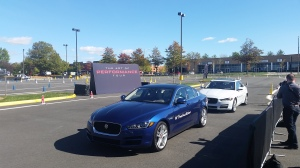 Jaguar XE models ready to be taken out on the autocross course.