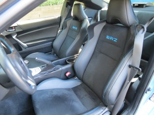 Subaru BRZ Hyper Blue Edition features stitching on the steering wheel, and seats that match the exterior paint.