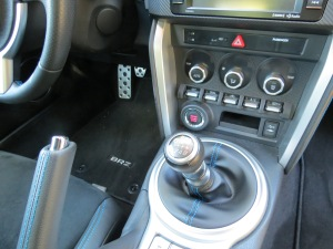 Subaru BRZ has a short throw 6-speed manual shift, though an automatic is an option.