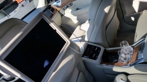 Volvo XC90 Excellence is opulent with rear video screens and crystal glasses.