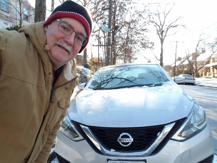 William West Hopper bundled up for a winter road trip in the Nissan Sentra SV.