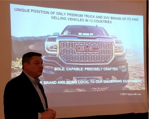 March Cieslak GMC's Chief Engineer for the 2018 Terrain presents the vehicle to auto journalists in NYC.