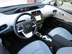 The interior of the Toyota Prius is well appointed for an economy car.