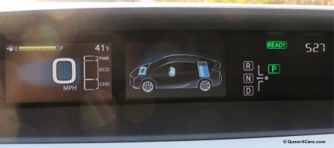 The center display screen provides plenty of data on the operation of the Prius.