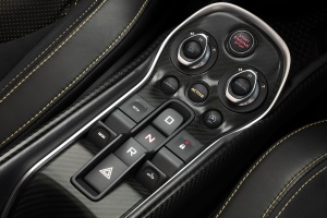 McLaren 570S Spider transmission selector and launch control.