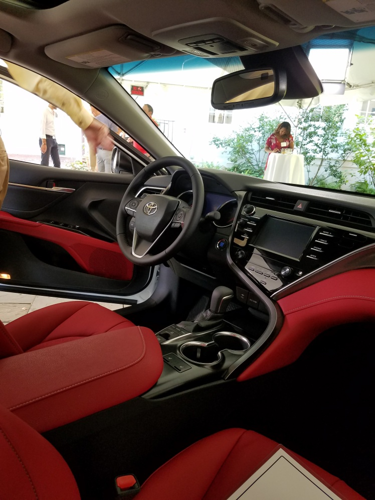 2018 Camry interior is very cockpit inspired. Focused on the driver.