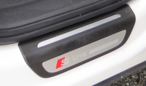 Audi Q3 sported an S line emblem on both the front fender and rear door threshold.