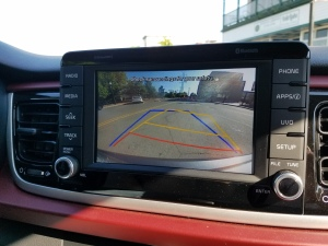 "The 7"" Screen shows clearly what is behind the 2018 Kia Rio"