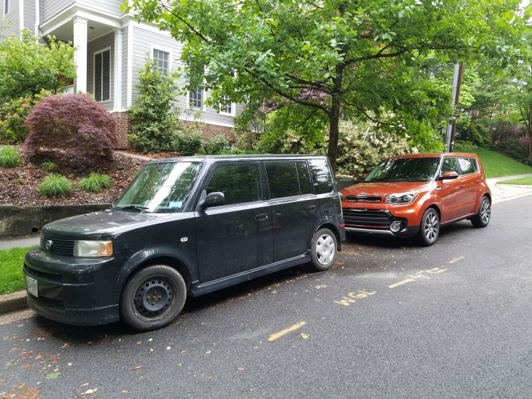 Rolling bread boxes with the first generation XB from Scion and the 2017 Kia Soul.
