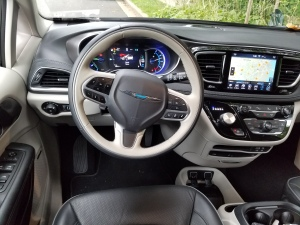 The cockpit of the Chrysler Pacifica Hybrid is comfortable and well laid out.