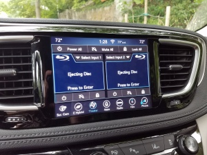 Chrysler's rear seat entertainment can be controlled by the front blu ray player controls.