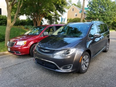 Comparing the Chrysler Town and Country to the Chrysler Pacifica Hybrid, size is just about the same.