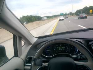 Traveling on the highway the Chrysler Pacifica has adaptive cruise control, as well as blind spot warning, all based on the 360 degree camera.