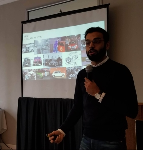 MINI Manager of Product Planning, Ishaan Khatri speaks to auto journalists in NYC in November of 2018, prior to the LA Auto Show.