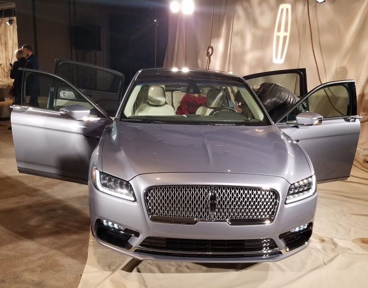 The Coach Door Edition of the Black Label Lincoln Continental at the NYC unveiling.