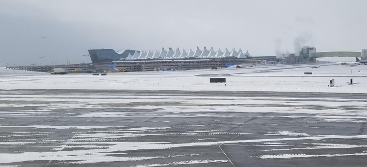 DIA Denver International Airport in the snow