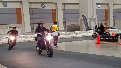 Riding the Zero Motorcycle Electrics was easy on the indoor track.