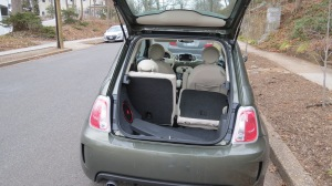 Fiat 500 Lounge Rear Hatchback with seat folded down