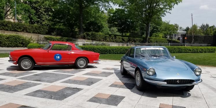 Blue 1968 Ferrari GTC and Red Alfa Romero on display at the Italian Embassy in Washington DC.