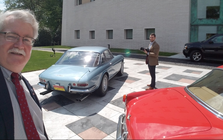 WWH and MM photographing historic cars at the Italian Embassy in Washington DC like the blue 1968 Ferrari GTC