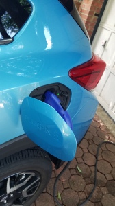 Subaru Crosstreck PHEV Plugged in at home to a 110v outlet