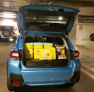 Subaru Crosstrek loaded with pet supplies