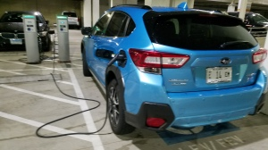 Subaru Crosstrek Pluged In at a public charger