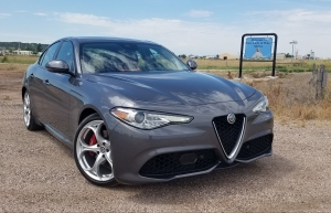 2018 Alfa Romeo Giulia at the Lady of Peace Shrine in Pine Bluffs WY