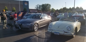 Alfa Romeo Giulia and Vintage Porsche at Cars and Coffee in Lafayette CO August 2019