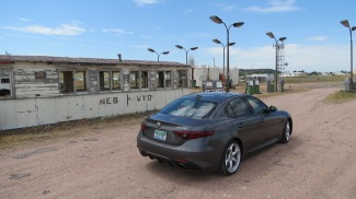 2018 Alfa Romeo Giulia at the Nebraska Wyoming Border