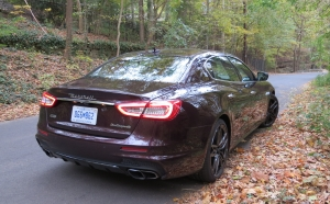Maserati Quatroporte on a leafy lane