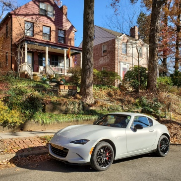 The 2019 Mazda MX5 Miata in Ceramic Metallic with the top up
