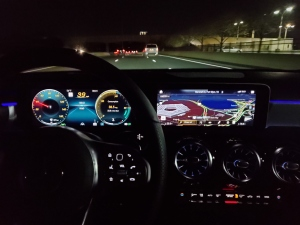 Mercedes Benz A220 center display with MBUX augmented reality for navigation