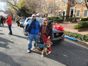 Mike and Teddie Norton in front of the 2019 Mazda CX5 before the start of the Old Town Alexandria VA Scottish Walk Parade