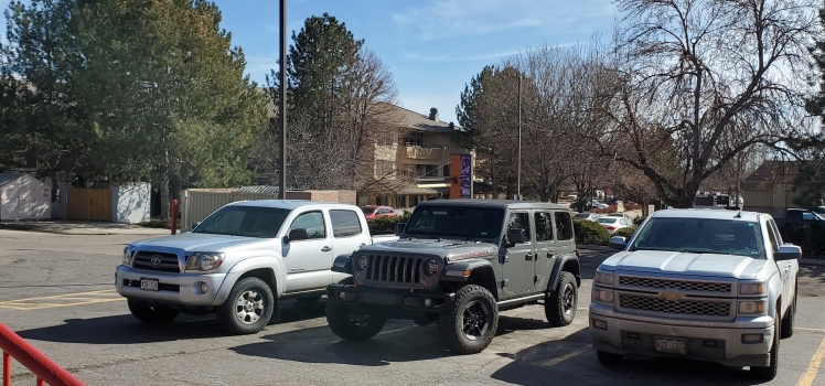 Toyota, Jeep Wrangler and Chevy 1500