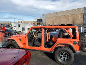 Jeep Wrangler at Lafayette Colorado Cars and Coffee with the doors and windows off. Tangjeep