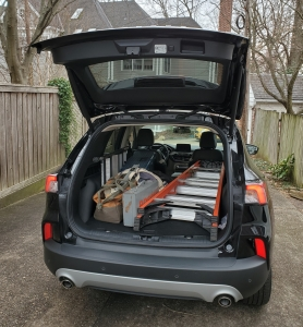 2020 Ford Escape Hybrid hatch loaded with 6 foot ladder